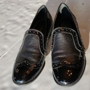 Franco Sarto black loafers and a size 6 and 1/2.